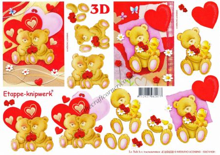 Bears In Love With Love Hearts 3d Decoupage Sheet